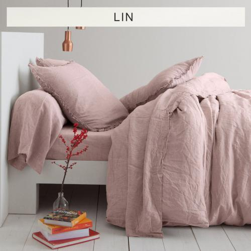 3 SUISSES Collection - Drap-housse lin lavé uni - Rose - Linge de maison