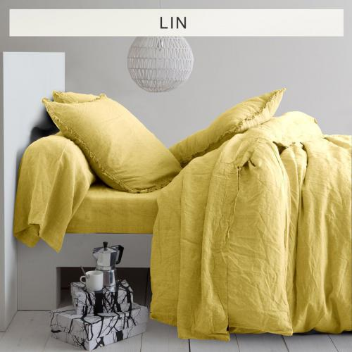 3 SUISSES Collection - Drap-housse lin lavé uni - Jaune - Promotions Linge de maison
