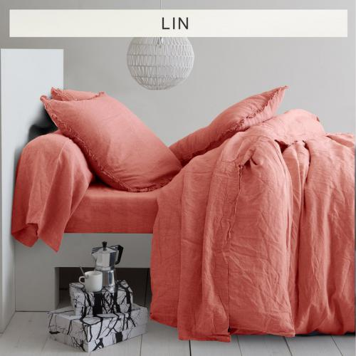 3 SUISSES Collection - Drap-housse lin lavé uni - Orange - Linge de maison