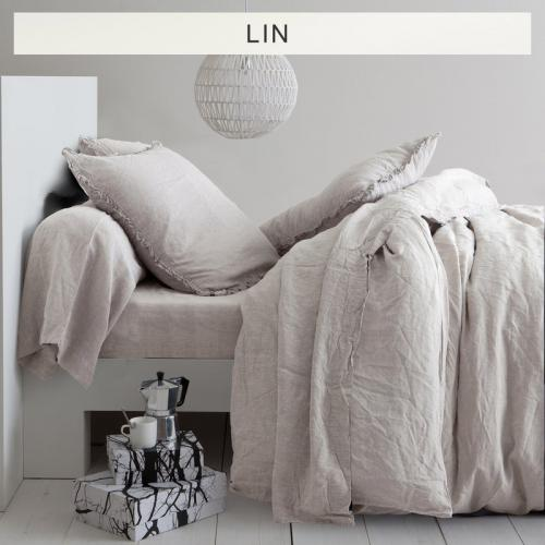 3S. x Collection - Drap-housse lin lavé uni - Beige - Linge de maison
