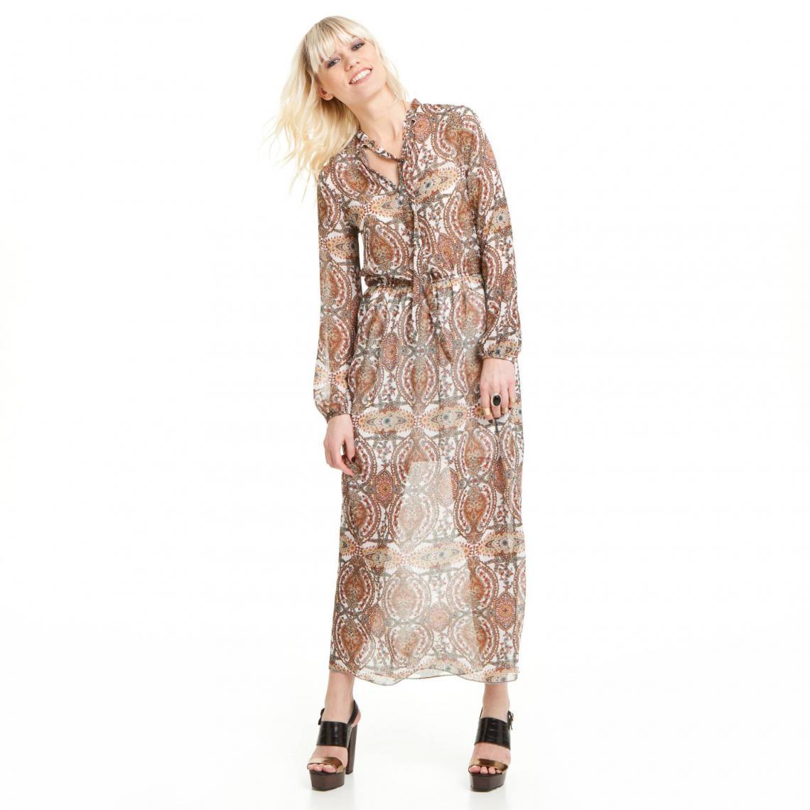 Robe longue manches longues fluide imprimée cachemire femme - Imprimé 3  Suisses Collection Femme e01ca7a0206b