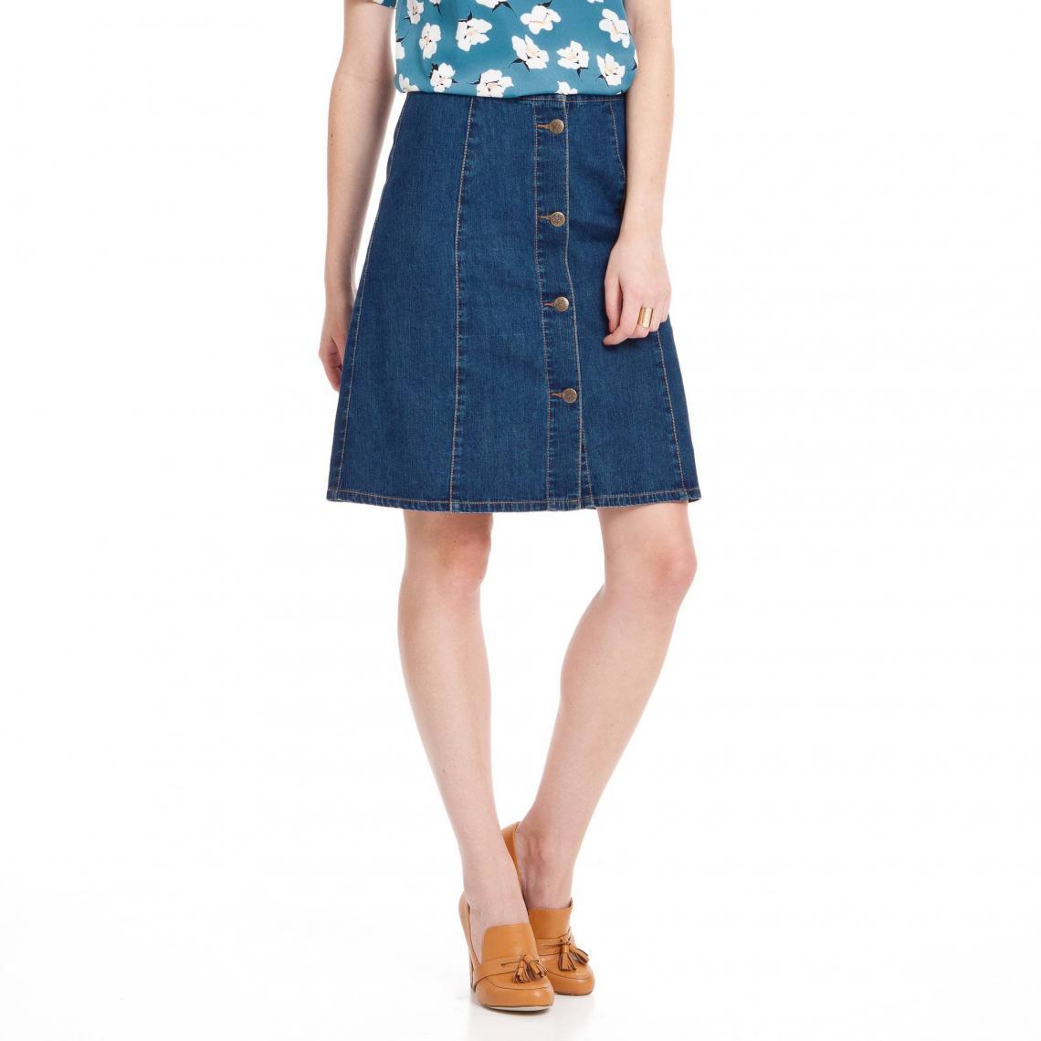 nouveau produit 5e3dd 91617 Jupe en jean trapèze boutonnée denim femme - Bleu | 3 SUISSES