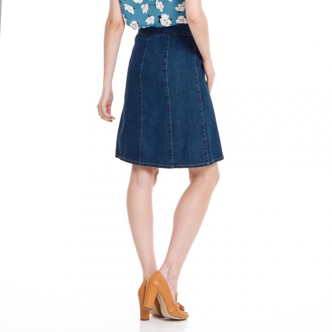 270c0e7150 Jupe en jean trapèze boutonnée denim femme - Bleu   3 SUISSES