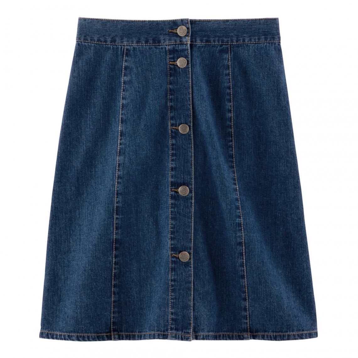 100bcd60a2f2ba Jupe en jean trapèze boutonnée denim femme - Bleu | 3 SUISSES