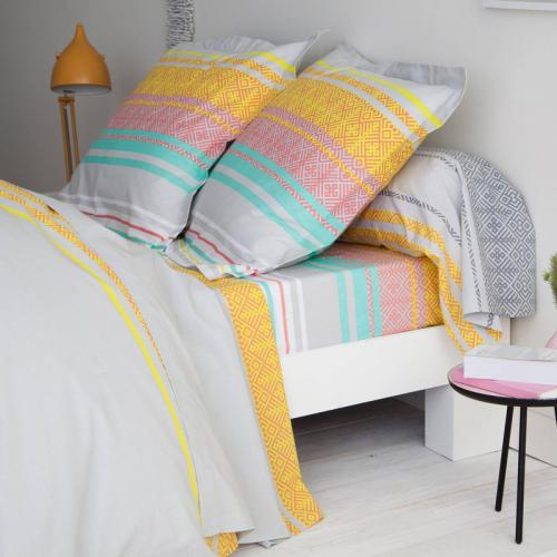 3 SUISSES Collection - Drap housse coton imprimé Fluko - Multicolore - Drap housse