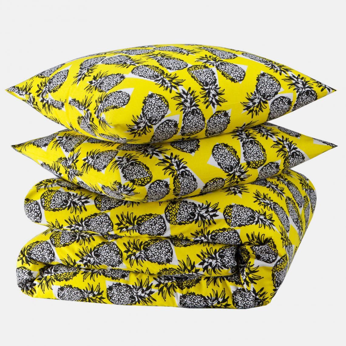 Parure Housse De Couette 1 Ou 2 Taies Coton Imprimé Ananas Picota
