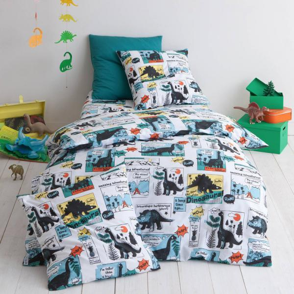 Housse de couette coton imprimé Dinoso - Multicolore 3 SUISSES Collection Linge de maison