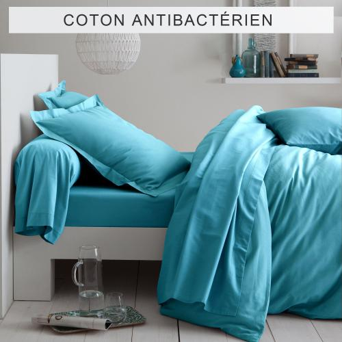 3 SUISSES Collection - Drap-housse coton traité antibactérien Sanitized® - Bleu Lagon - Linge de maison