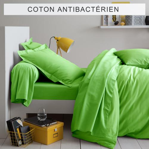 3 SUISSES Collection - Drap-housse coton traité antibactérien Sanitized® - Vert Anis - Linge de maison