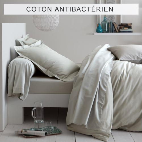 3 SUISSES Collection - Drap-housse coton traité antibactérien Sanitized® - Lin - Linge de maison