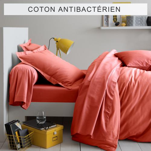 3 SUISSES Collection - Drap-housse coton traité antibactérien Sanitized® - Corail - Linge de maison