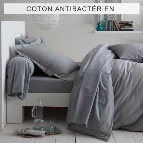 3 SUISSES Collection - Drap-housse coton traité antibactérien Sanitized® - Gris - Linge de maison