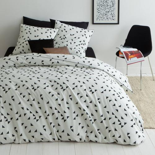 3 Suisses Collection - Housse de couette coton imprimé Happy Black - Noir - Linge de maison
