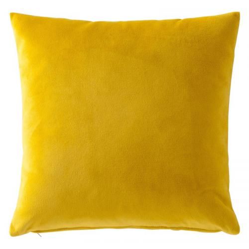 3 SUISSES Collection - Housse de coussin velours uni - Jaune - Linge de maison