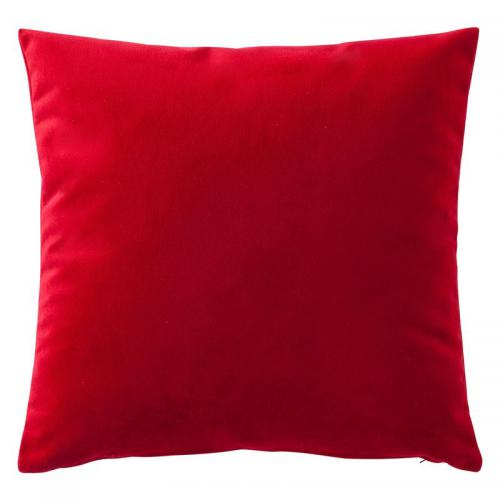 3 SUISSES Collection - Housse de coussin velours uni - Rouge - Linge de maison