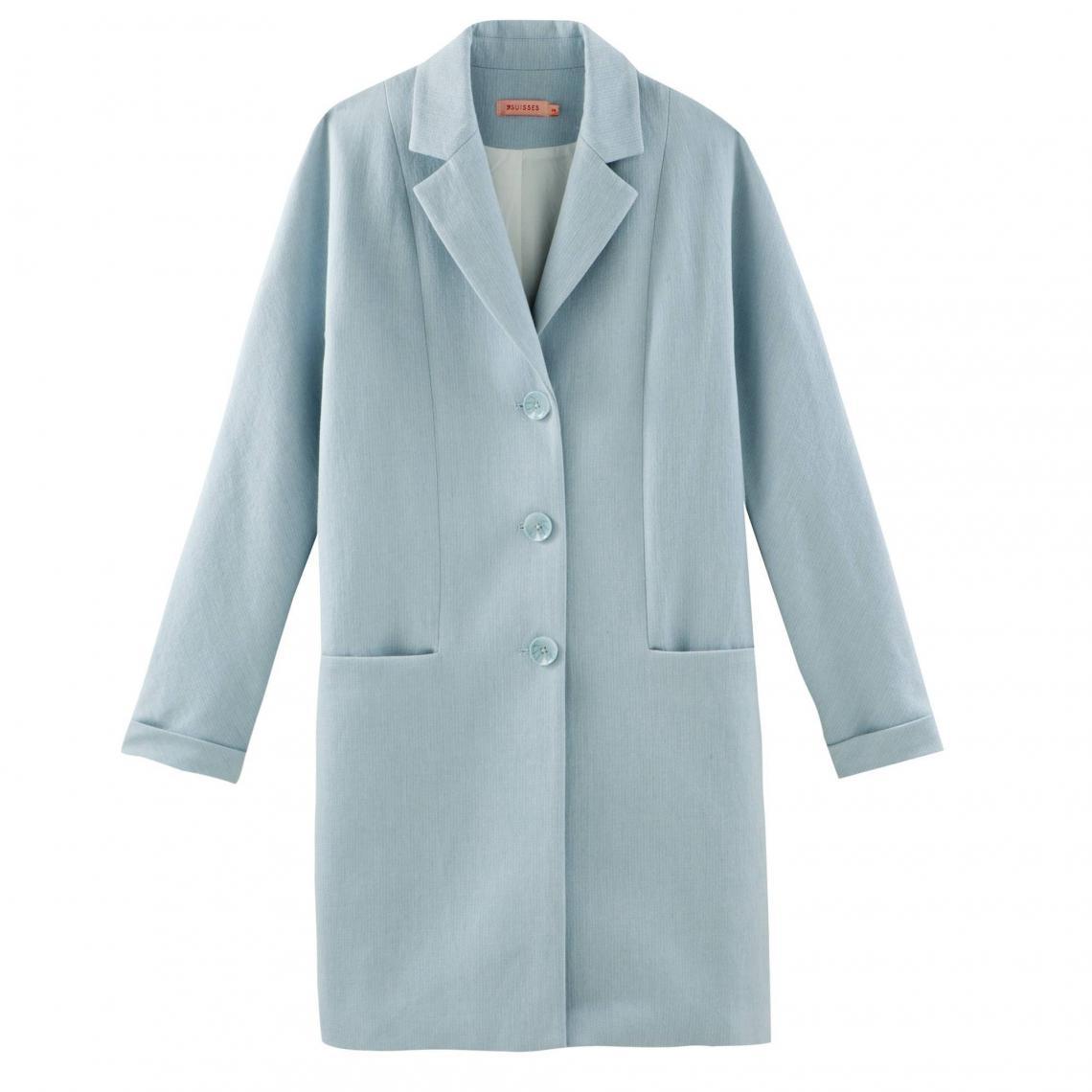 0076494416e68 Manteau long boutonné demi-saison femme - Bleu Ciel   3Suisses
