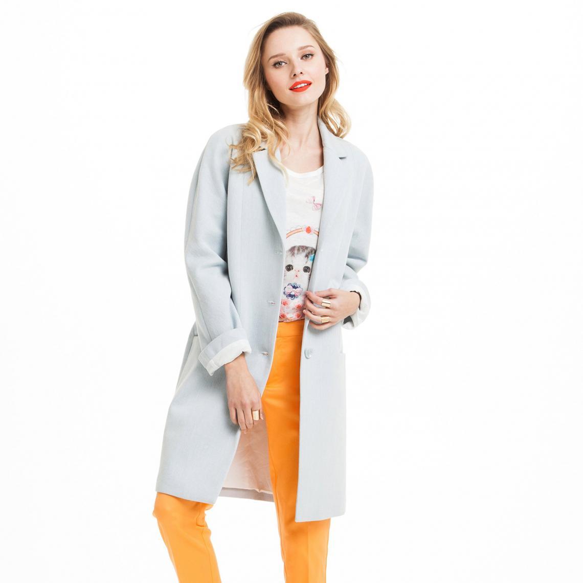 1ec675fe1e234 Manteau long boutonné demi-saison femme - Bleu Ciel 3 Suisses Collection  Femme Cliquez l image pour ...