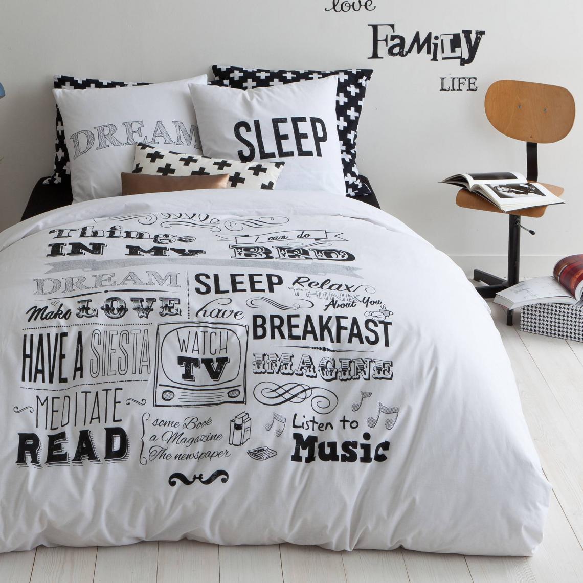 Housse de couette coton imprimé Sleep - Noir