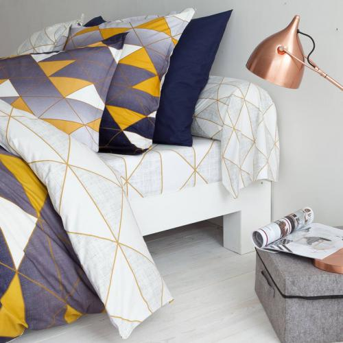 3 SUISSES Collection - Drap-housse coton imprimé Geometrical - Jaune - Linge de maison