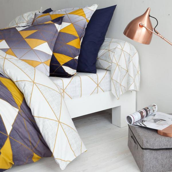 Drap-housse coton imprimé Geometrical - Jaune 3 SUISSES Collection Linge de maison
