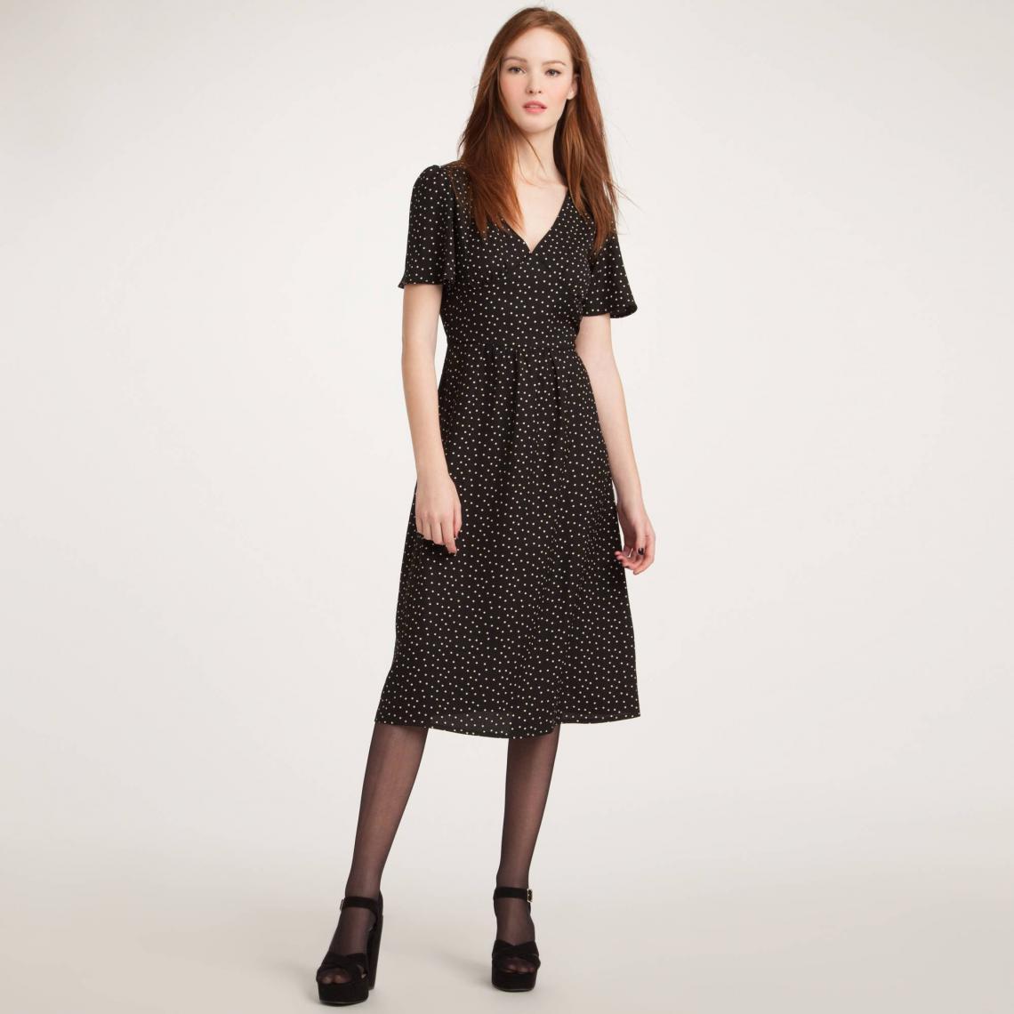 Robe Fluide Encolure V Manches Courtes Femme 3 Suisses Collection Noir 3 Suisses