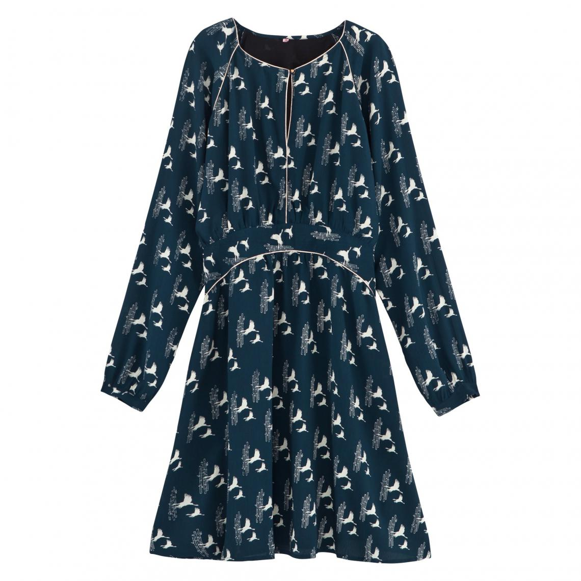 Robe fluide manches longues avec piping femme 3 Suisses Collection -  Bicolore 3 Suisses Collection 32adc5ab620c