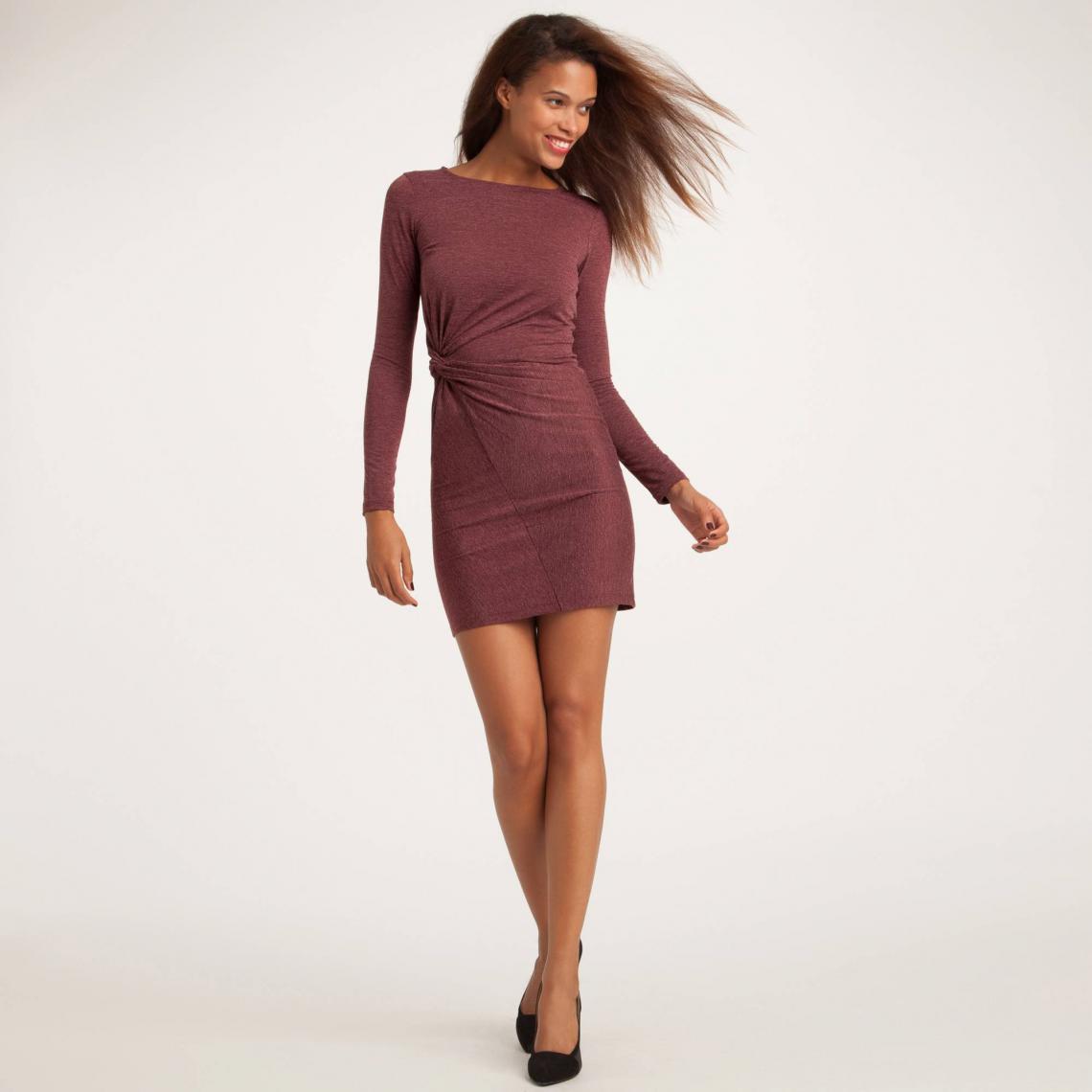 7ca71f55d69e6 Robe drapée manches longues en maille femme 3 SUISSES Collection - Rouge 3  SUISSES Collection