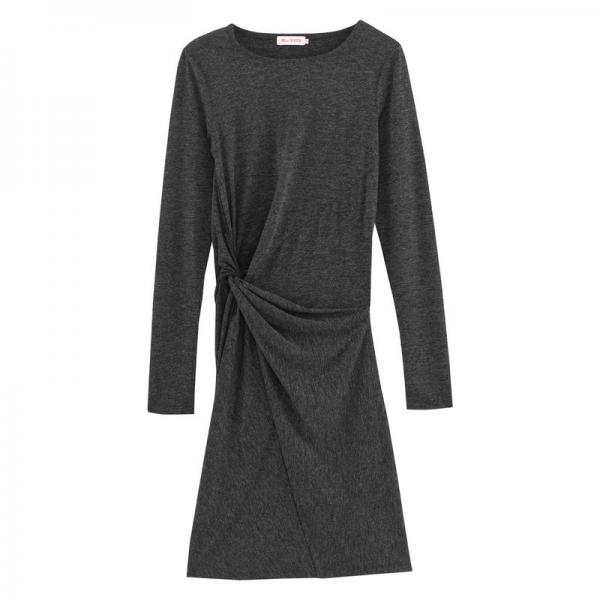 Robe drapée manches longues en maille femme 3 SUISSES Collection - Gris 3S. x Collection