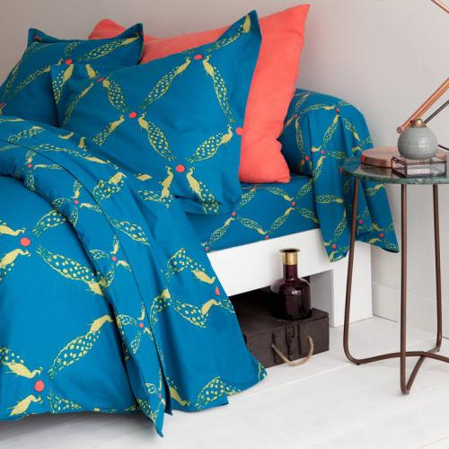 3 SUISSES Collection - Drap housse 100% coton imprimé Paon - Bleu - Taies d'oreillers, traversins