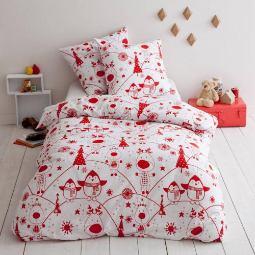 3 SUISSES Collection - Housse de couette junior 100% coton imprimé Rudolf - Rouge - Linge de maison