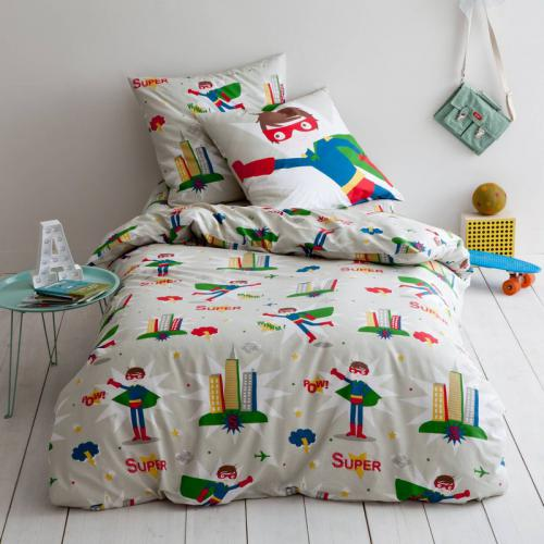 3 SUISSES Collection - Housse de couette enfant pur coton imprimé Super - Multicolore - Linge de maison