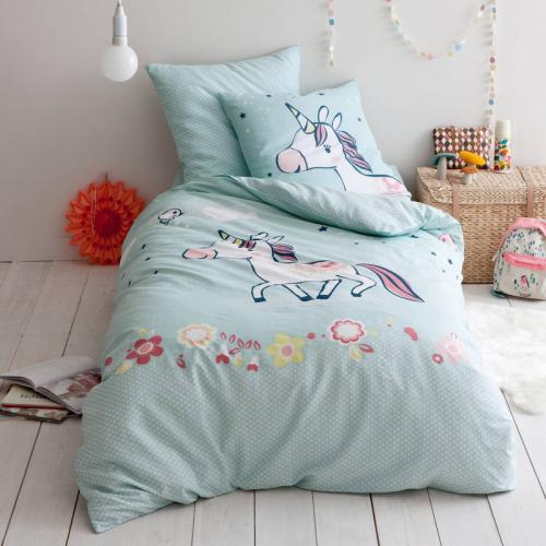 3 SUISSES Collection - Housse de couette 100% coton imprimé Yvonne la Licorne - Multicolore - Linge de maison