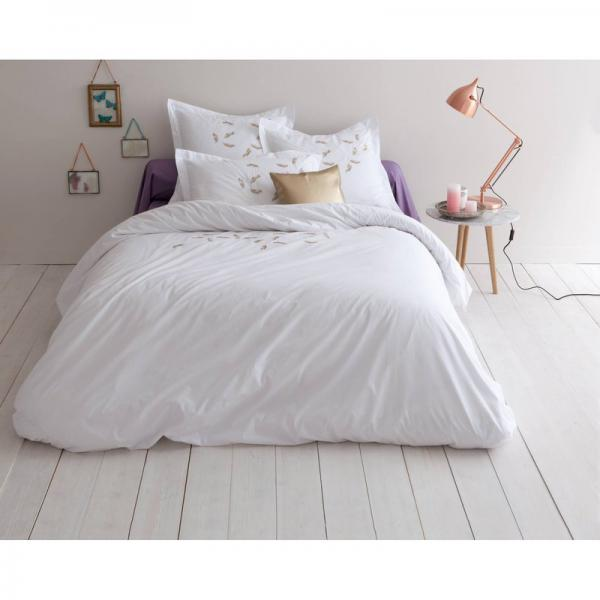 Taie d'oreiller carrée ou rectangulaire 100% percale de coton brodée Plumy - Blanc 3 SUISSES Collection Linge de maison