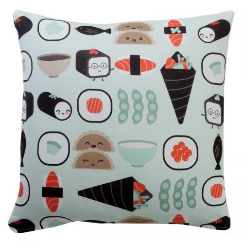 3 SUISSES Collection - Housse de coussin coton imprimé Sushi - Multicolore - Promotions Linge de maison