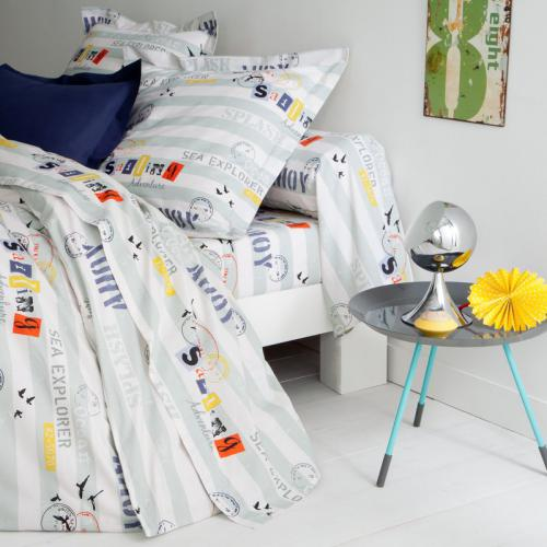3 SUISSES Collection - Drap coton rayé Sea Explorer - Multicolore - Linge de maison