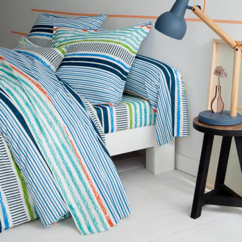 3 SUISSES Collection - Drap-housse coton rayé Marine - Multicolore - Linge de maison