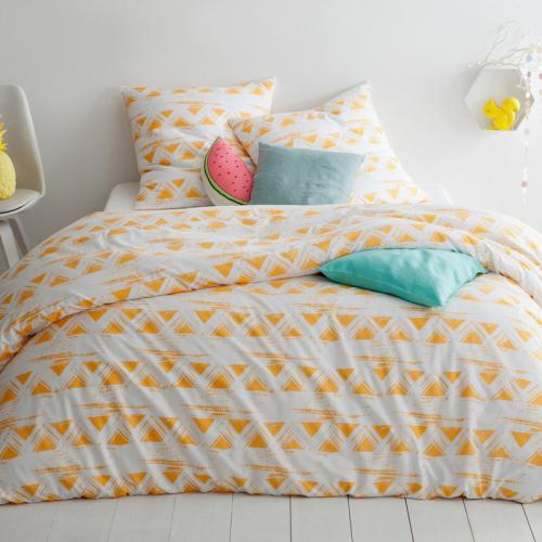 3 SUISSES Collection - Parure housse de couette + 1 ou 2 taies coton imprimé Silver - Orange - Linge de lit
