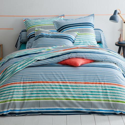 3 SUISSES Collection - Housse de couette coton rayée Marine - Multicolore - Promotions Linge de maison
