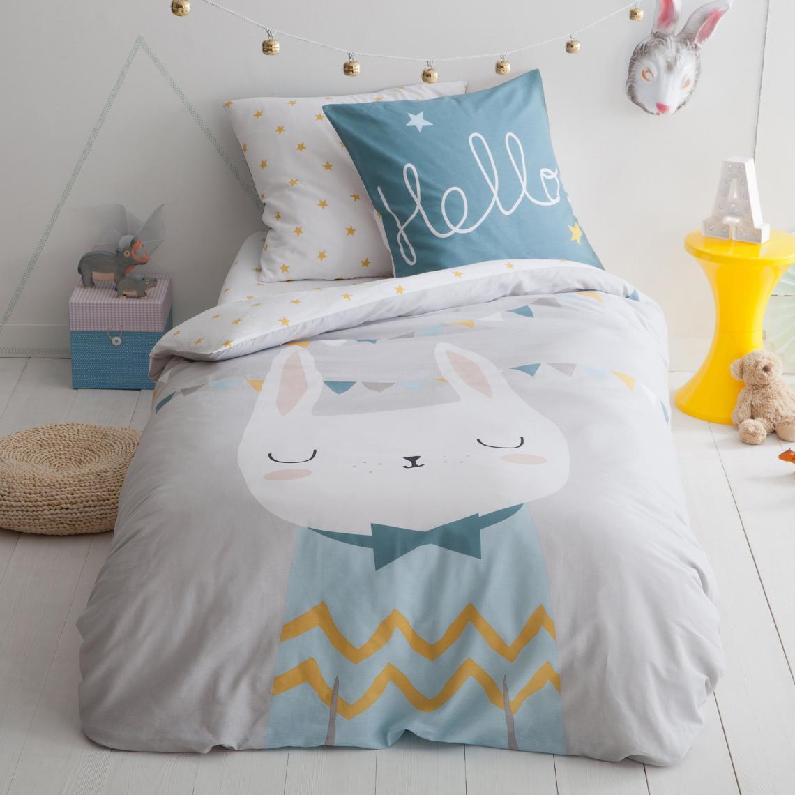 linge de lit enfant blanc bleu