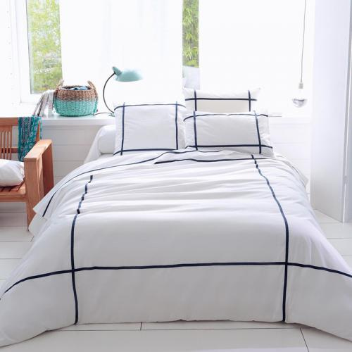 3 Suisses Collection - Housse de couette coton Select indigo - Blanc - Promos Linge de Maison