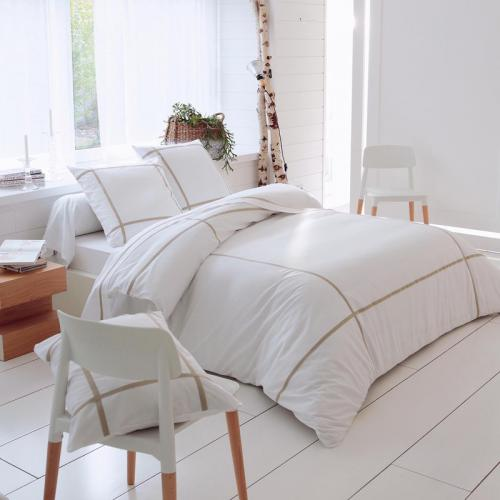 3 Suisses Collection - Housse de couette coton Select lin - Blanc - Promos Linge de Maison
