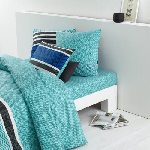 housse de couette 1 ou 2 personnes coton imprim oc an chevron imprim vert meraude 3suisses. Black Bedroom Furniture Sets. Home Design Ideas