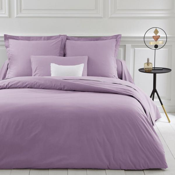 Housse de couette coton unie PERCALE - Violet 3S. x Collection Linge de maison