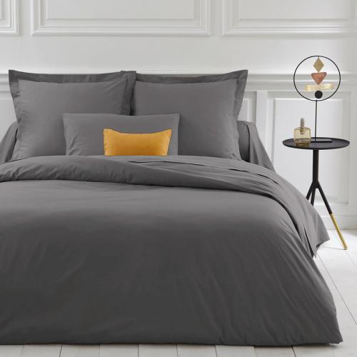 3 Suisses Collection - Housse de couette coton unie PERCALE - Gris - Linge de maison