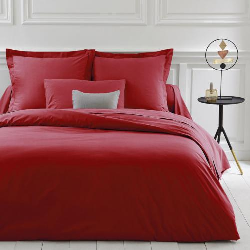 3 SUISSES Collection - Housse de couette coton unie PERCALE - Rouge - Linge de maison