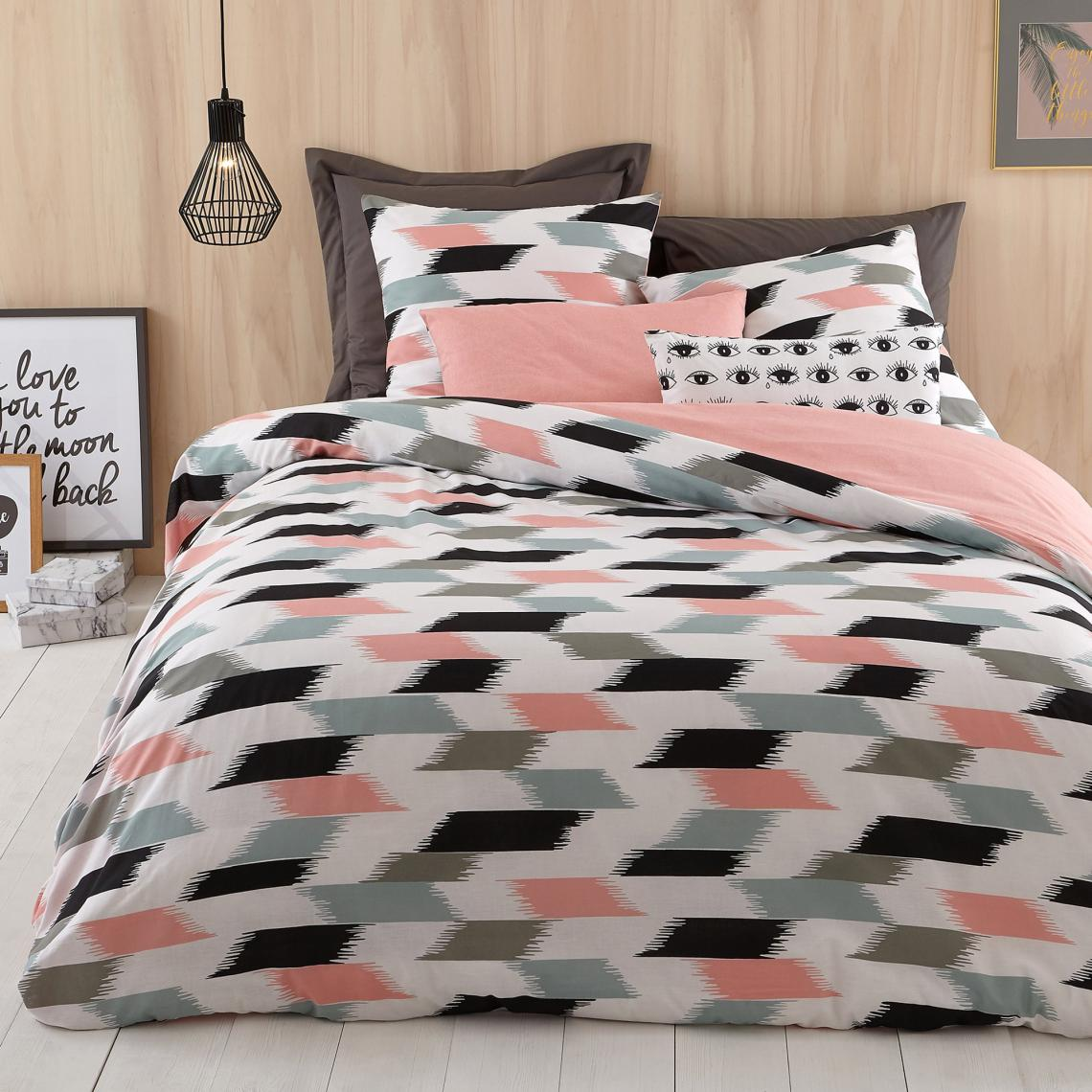 housse de couette 1 ou 2 personnes coton imprim thales. Black Bedroom Furniture Sets. Home Design Ideas