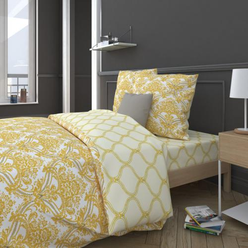 3S. x Collection - Drap-housse coton UENZA - jaune - Linge de maison