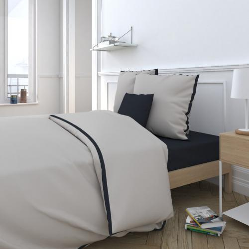 3S. x Collection - Drap housse uni percale de coton Cally noir - Noir - Linge de maison