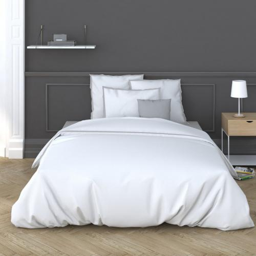 3 Suisses Collection - Housse de couette 1 ou 2 personnes percale de coton Cally - Bicolore Blanc - Promos Linge de Maison