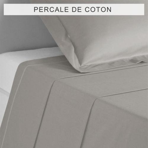 3 SUISSES Collection - Drap coton uni PERCALE - Gris - Drap plat